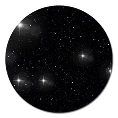 Starry Galaxy Night Black And White Stars Magnet 5  (round)
