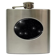Starry Galaxy Night Black And White Stars Hip Flask (6 Oz)