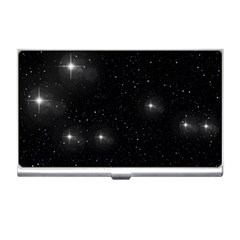 Starry Galaxy Night Black And White Stars Business Card Holders