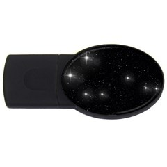 Starry Galaxy Night Black And White Stars Usb Flash Drive Oval (2 Gb)