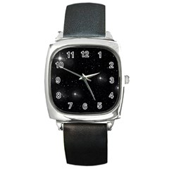 Starry Galaxy Night Black And White Stars Square Metal Watch