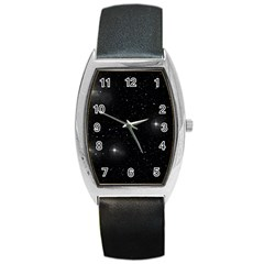 Starry Galaxy Night Black And White Stars Barrel Style Metal Watch