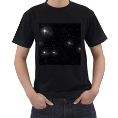 Starry Galaxy Night Black And White Stars Men s T Shirt (black) (two Sided)