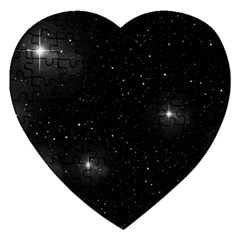 Starry Galaxy Night Black And White Stars Jigsaw Puzzle (heart)