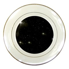 Starry Galaxy Night Black And White Stars Porcelain Plates