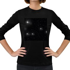 Starry Galaxy Night Black And White Stars Women s Long Sleeve Dark T Shirts