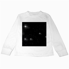 Starry Galaxy Night Black And White Stars Kids Long Sleeve T Shirts