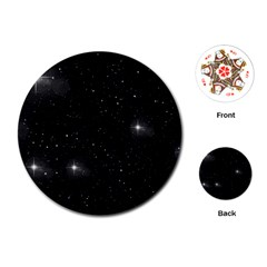 Starry Galaxy Night Black And White Stars Playing Cards (round)