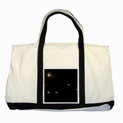 Starry Galaxy Night Black And White Stars Two Tone Tote Bag