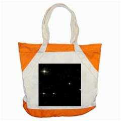 Starry Galaxy Night Black And White Stars Accent Tote Bag