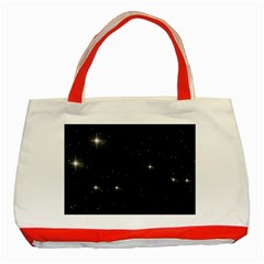 Starry Galaxy Night Black And White Stars Classic Tote Bag (red)