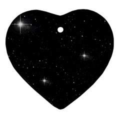 Starry Galaxy Night Black And White Stars Heart Ornament (two Sides)