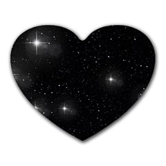 Starry Galaxy Night Black And White Stars Heart Mousepads