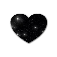 Starry Galaxy Night Black And White Stars Heart Coaster (4 Pack)