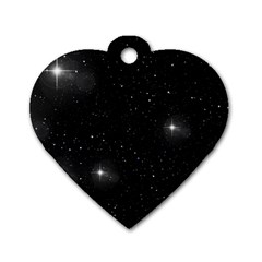 Starry Galaxy Night Black And White Stars Dog Tag Heart (one Side)