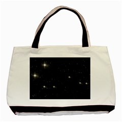 Starry Galaxy Night Black And White Stars Basic Tote Bag (two Sides)