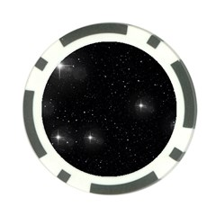 Starry Galaxy Night Black And White Stars Poker Chip Card Guard