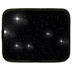 Starry Galaxy Night Black And White Stars Netbook Case (large)