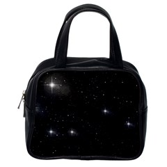 Starry Galaxy Night Black And White Stars Classic Handbags (one Side)