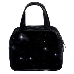 Starry Galaxy Night Black And White Stars Classic Handbags (2 Sides)