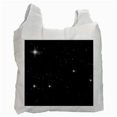 Starry Galaxy Night Black And White Stars Recycle Bag (two Side)