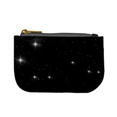 Starry Galaxy Night Black And White Stars Mini Coin Purses