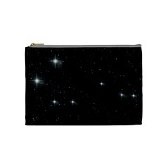 Starry Galaxy Night Black And White Stars Cosmetic Bag (medium)