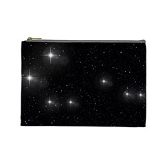 Starry Galaxy Night Black And White Stars Cosmetic Bag (large)