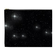 Starry Galaxy Night Black And White Stars Cosmetic Bag (xl)