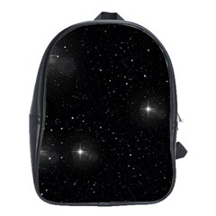 Starry Galaxy Night Black And White Stars School Bag (large)