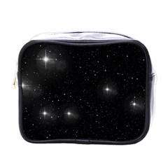 Starry Galaxy Night Black And White Stars Mini Toiletries Bags