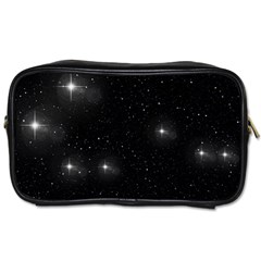 Starry Galaxy Night Black And White Stars Toiletries Bags 2 Side