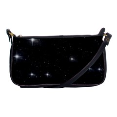 Starry Galaxy Night Black And White Stars Shoulder Clutch Bags