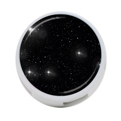 Starry Galaxy Night Black And White Stars 4 Port Usb Hub (one Side)