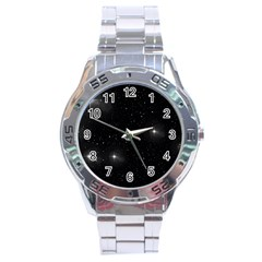Starry Galaxy Night Black And White Stars Stainless Steel Analogue Watch