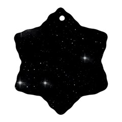 Starry Galaxy Night Black And White Stars Ornament (snowflake)