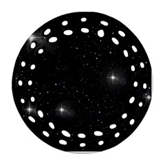 Starry Galaxy Night Black And White Stars Round Filigree Ornament (two Sides)
