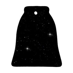 Starry Galaxy Night Black And White Stars Bell Ornament (two Sides)