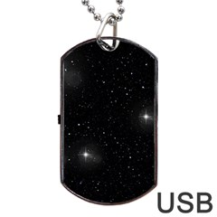 Starry Galaxy Night Black And White Stars Dog Tag Usb Flash (one Side)