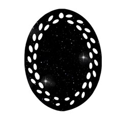 Starry Galaxy Night Black And White Stars Oval Filigree Ornament (two Sides)