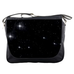 Starry Galaxy Night Black And White Stars Messenger Bags
