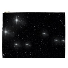 Starry Galaxy Night Black And White Stars Cosmetic Bag (xxl)