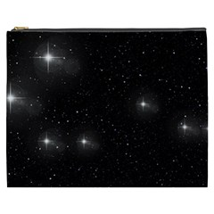 Starry Galaxy Night Black And White Stars Cosmetic Bag (xxxl)