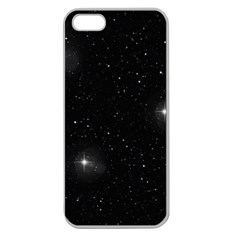 Starry Galaxy Night Black And White Stars Apple Seamless Iphone 5 Case (clear)