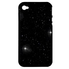 Starry Galaxy Night Black And White Stars Apple Iphone 4/4s Hardshell Case (pc+silicone)