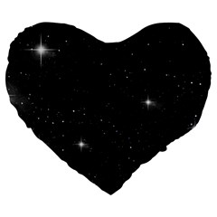 Starry Galaxy Night Black And White Stars Large 19  Premium Heart Shape Cushions