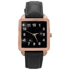 Starry Galaxy Night Black And White Stars Rose Gold Leather Watch