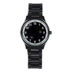 Starry Galaxy Night Black And White Stars Stainless Steel Round Watch