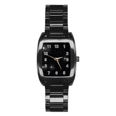 Starry Galaxy Night Black And White Stars Stainless Steel Barrel Watch