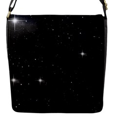 Starry Galaxy Night Black And White Stars Flap Messenger Bag (s)